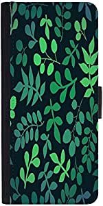 Snoogg seamless pattern with leaf Graphic Snap On Hard Back Leather + PC Flip Cover One Plus One