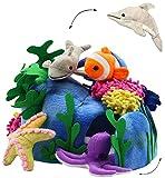 alles-meine.de GmbH XL Set _ 4 Stück Fingerpuppen + große Unterwasserwelt - Spielset - incl. Fische / Clownfisch, Delfin, Krake, Seestern - Handspielpuppen - Handpuppe für Finger..