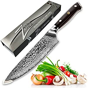 ZELITE INFINITY Chef Knife 8 inch - Alpha-Royal Series - Best Quality Japanese VG10 Super Steel 67 Layer Damascus - Razor Sharp, Superb Edge Retention, Stain & Corrosion Resistant Chefs Knives
