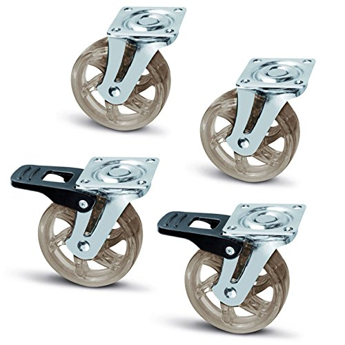 4er Set SO-TECH® Möbelrolle Shift braun-transparent Ø 75 mm ( 2 x mit Bremse / 2 x ohne Bremse) Lenkrolle Transportrolle