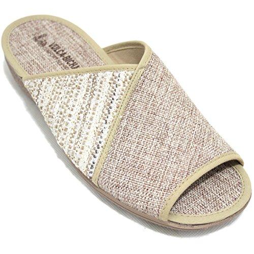 Vulcabicha 743 - Zapatillas con Cuña de Verano Para Mujer de Colores Beig y Marrón con Dos Texturas - Beig, 40