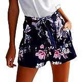 Hosen Damen Sommer Sport Stretch Slim Fit High Waist Skinny Lässige Shorts Hohe Taille Kurze Hosen (Dark Blue, XL)