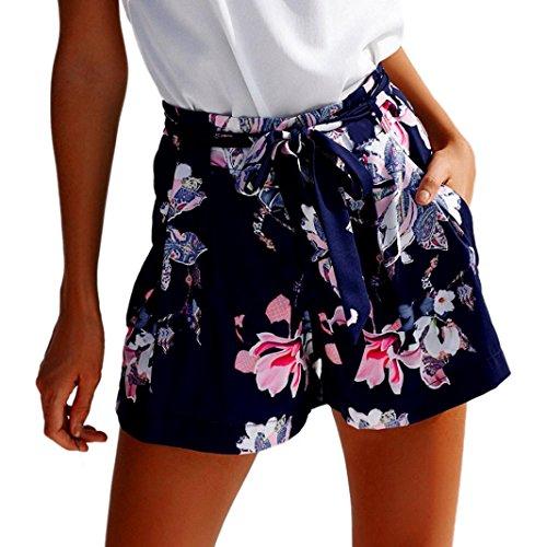 Hosen Damen Sommer Sport Stretch Slim Fit High Waist Skinny Lässige Shorts Hohe Taille Kurze Hosen (Dark Blue, XL) - Mesh-stretch-shorts