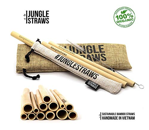 Jungle Straws | 12 Reusable Bamboo Drinking Straws | Eco Friendly Straws |  Biodegradable Straw Set | 100% Natural & Organic | Includes Cleaning Brush,