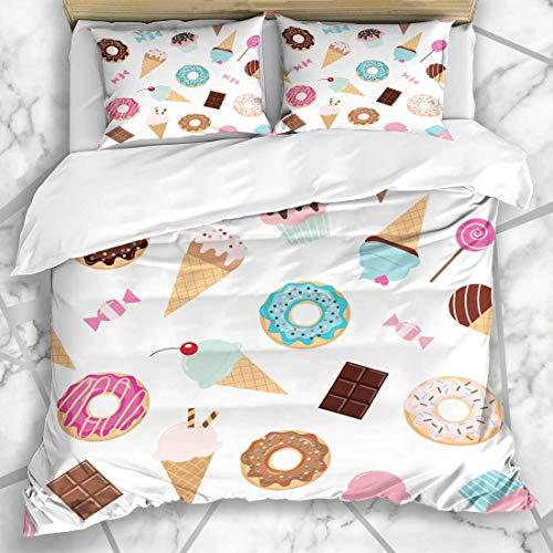 Soefipok Bettbezug-Sets Feier Cupcake Geburtstag Muster Süßigkeiten EIS Rosa Süßigkeiten Dessert Schokolade Girly Mikrofaser Bettwäsche mit 2 Kissenbezügen (Rosa Und Bettwäsche Schokolade)