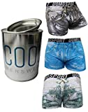 COOL24 Mikrofaser Luxus-Boxershorts - JEANS - in exclusiver Farbeimer-Geschenkdose - L