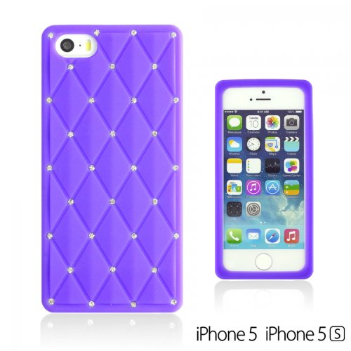 OBiDi - Checker Pattern Soft Silicone Case / Housse pour Apple iPhone SE / Apple iPhone 5S / 5 - Orange Pourpre