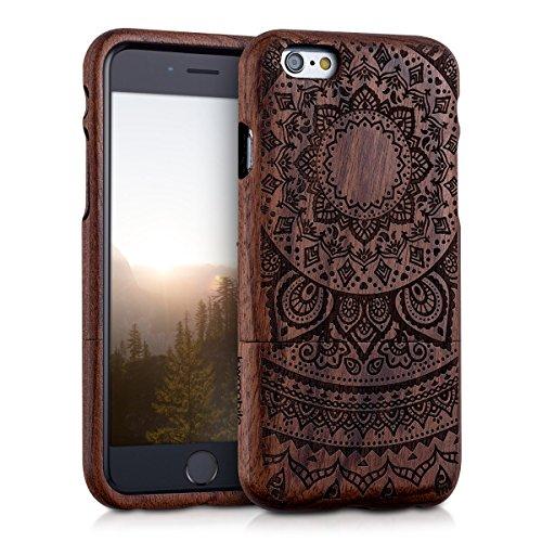 kwmobile Hülle für Apple iPhone 6 / 6S - Rosenholz Case Handy Schutzhülle - Hardcase Cover Indische Sonne Design Dunkelbraun Indische Sonne Dunkelbraun