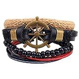 Housweety Multilayer Handmade Geflochtenes Leder Armband Armreif Armband Stil 12