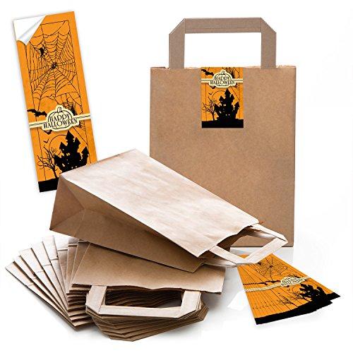 10 braune Papiertüten Papier-Tragetaschen Geschenk-Beutel Boden 18 x 8 x 22 cm kleine Papiertaschen mit Halloween-Aufkleber Banderole Halloween Spukschloß Verpackung Süssigkeiten Kinder