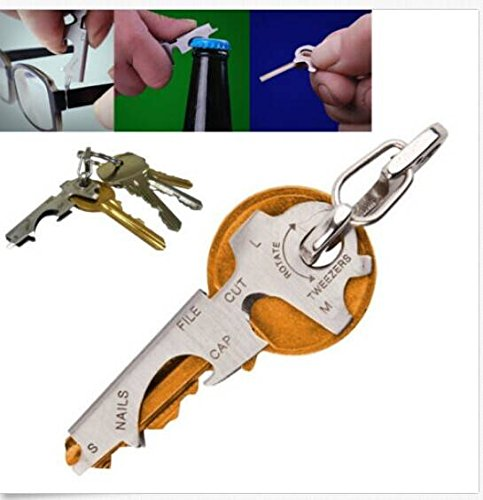 CAMTOA® Utility Multifonctions en acier inoxydable Porte-clés Outils Pocket Gadget EDC Décapsuleur