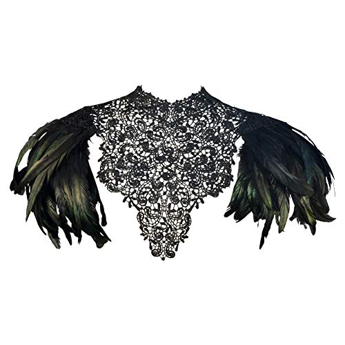 Homelex Gothic Schwarz Federn Wedding Lace Cape Shawl Kragen Umhang Wing Pad (Black-SL)