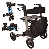 X Cruise Folding lightweight compact rollator walking frame with seat - choice of colours