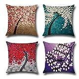 Ocean Kissenbezug,Baumwoll-Leinen-Kissen Rich Tree Square Kissenbezug Dekorativ für Sofas Betten Stühle 4er-Set, 18 x 18 Zoll