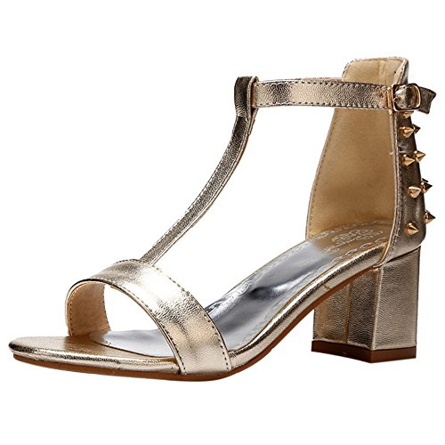 COOLCEPT Femmes Mode T-Strap Sandales Orteil ouvert Bloc Chaussures with Rivets Or