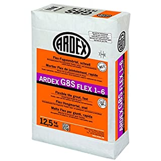 ARDEX G8S Flex Grout 1-6 - 12.5 kg Grey - Quick Hardening Flex Grout for Grout Widths from 1 to 6 mm, on Wall and Floor, Indoors and Outdoors.