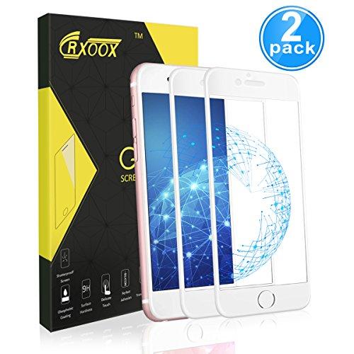 2-Unidades Protector de Cristal Templado para iPhone 7/iPhone 8,Protector de Pantalla de Vidrio Templado,9H Dureza,Resistente a Golpes,Arañazos,Alta Definición,Tacto Sensible y Suave(Blanco)