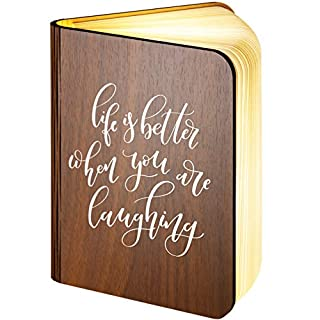 Large Personalised Wooden Folding Magnetic LED Book Lamp Featuring Life is Better When You are Laughing Design