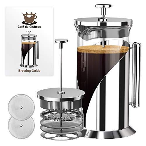 Café Du Chateau Kaffeebereiter für Französische Presse (8 Tassen, 34 oz) mit 4-stufigem Filtersystem, 304 Edelstahl, hitzebeständiges Borosilikatglas (Cafe French Press)