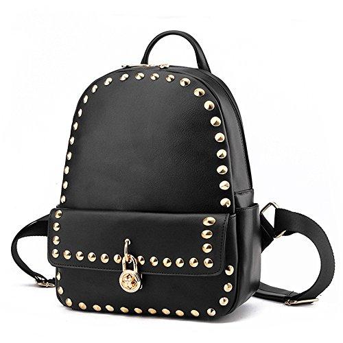 Otomoll Mode Kleine Frauen Rucksäcke Klein Niet Reißverschluss Student Schultasche Preppy Style Rucksack Black