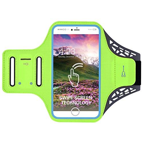 VORCOOL Sport Armband Fingerabdruck entsperrt Wasserdicht Handy Armband für iPhone 7 6 6S mit Kopfhörer-Steckplatz Headset Locker eingebaute Key Card Pocket - grün (5.5