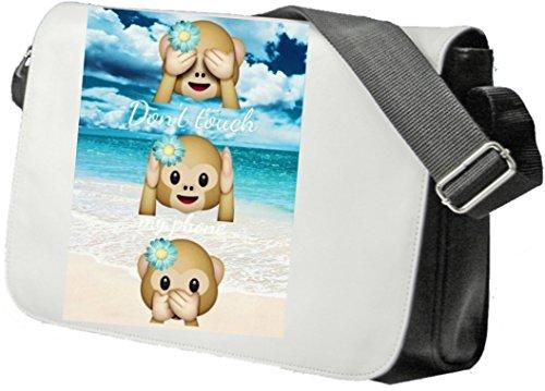 Schultertasche 'Dont Touch my Phone Drei Affen mit Urlaubs Summer' Schultasche, Sidebag, Handtasche, Sporttasche, Fitness, Rucksack, Emoji, Smiley