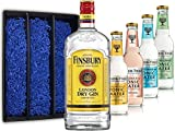 Gin Tonic Set Geschenkset - Finsbury London Dry Gin 70cl (37,5% Vol) + 4x Fever Tree Tonic Water Mix je 200ml -[Enthält Sulfite]