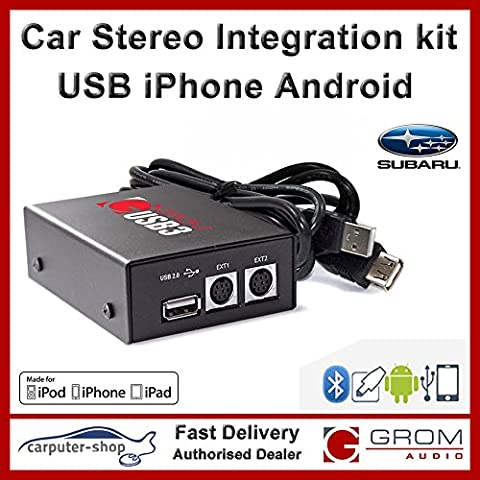 GROM Audio USB3 Integration kit for USB Sticks/Drives, iPod/iPhones or Android phones for SUBARU IMPREZA LEGACY OUTBACK FORESTER TRIBECA