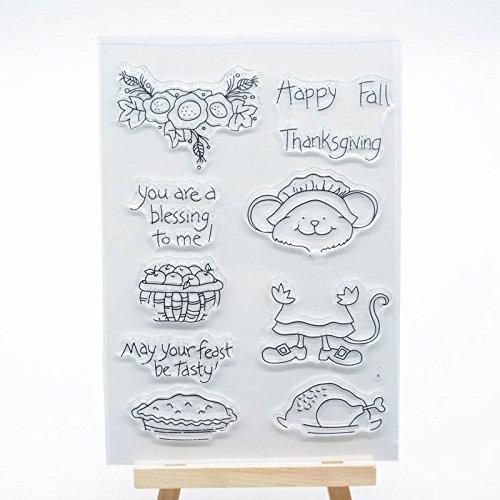 eude HOME 1pc Happy Fall Thanksgiving CLEAR STAMP für Karte machen Dekoration und Scrapbooking ()