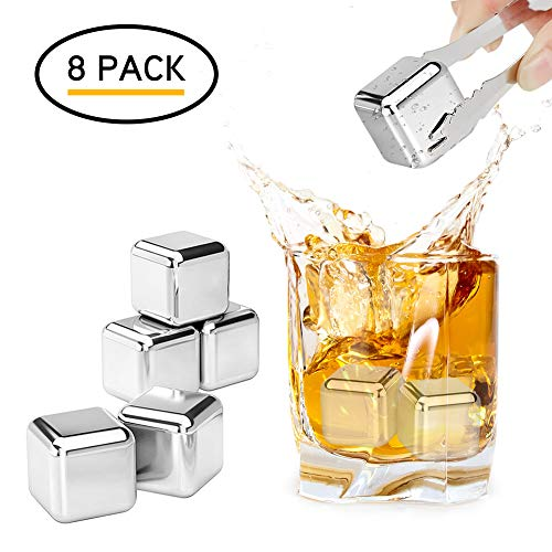 REIDEA Whisky Steine (8 Stück) Geschwindigkeit eingefroren Eiswürfel, Zum Kühlen Von Whiskey Wein, Cocktail   Geschenke Für Whiskyliebhaber   Wiederverwendbare kühlsteine  Kühlwürfel   Bar Accessoires