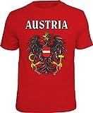 Mega Cooles T-Shirt mit Aufdruck: Austria - Ideales Andenken, Mitbringsel und Geschenk (Rot, M)