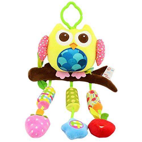 Happy Cherry Muñeca Sonajero Sonaja Colgante Juguete Juego Educativo Peluche de Animales Infantil para Bebés Recién Nacidos Niños Niñas Carrito Cochecito Cuna Infantil Multicolor - Buhó