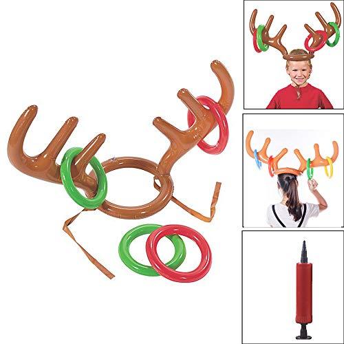 JIUZHOU Aufblasbarer Rentier Weihnachtsmütze Geweih Ring Werfen Urlaub Party Spiel Spielzeug
