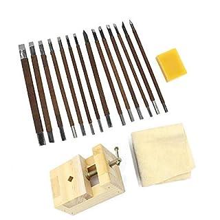 18 Stück Meißel-Sets Mangan-Stahl Gravurschneider Schnitzerei Stein Siegel-Werkzeug mit Bienenwachs-Spannmaschine