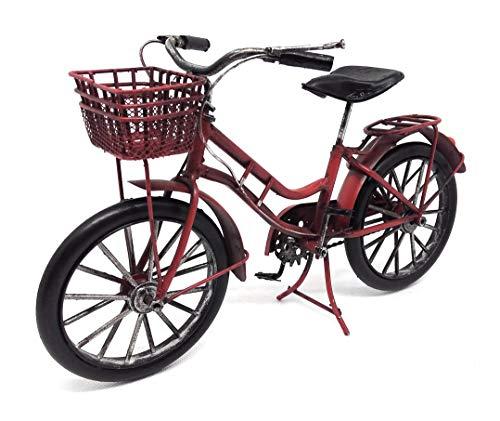 Deko Fahrrad Rot Damen mit Korb ca. 26 cm aus Metall