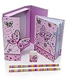 Cahier enfant fille petit ensemble de cahiers et de papeterie rose a motif papillon