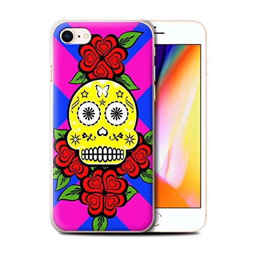 Stuff4 Hülle / Case für Apple iPhone 8 / Türkis Muster / Süßigkeiten Schädel Kollektion Gelb/Rose