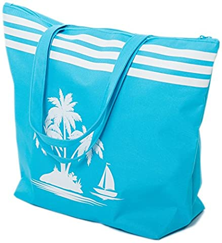 Beach Bag Womens Large Summer Canvas Tote Bags Zip Closure 50 x 38 x 16 cm Palm Tree Pattern Airee Fairee