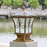 Eeayyygch Gartenlampe/Säulenlampe/Solarenergie Solar-Gartenleuchte/Lichterketten/Wandleuchten/Wandleuchten/Lampe/Tor-Outdoor-Säulenlampe, Bronze (Farbe : -, Größe : -)