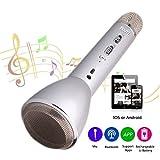 HooYL tragbares drahtloses Mikrofon mit integriertem Bluetooth Lautsprecher für die Aufnahme von Gesang und Sprache, als Lautsprecher für PC, Laptop, iPhone, iPod, iPad, Android Smartphones und als Party Karaoke Mikrofon(Silber)
