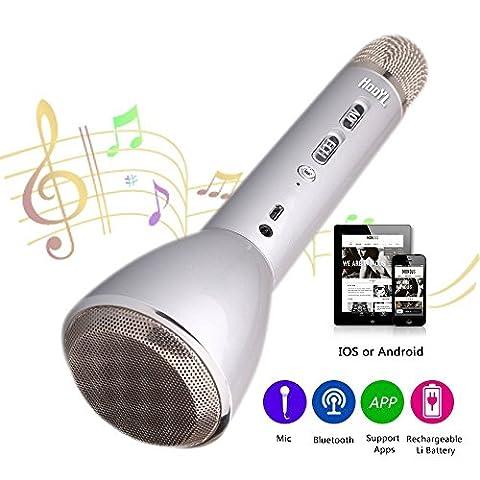 HooYL Microphone Bluetooth sans Fil Portable Karaoke Player Enregistrement des Chansons Compatible avec Apple iPhone Android Smartphone PC iPad pour Jouer de la Musique, Chanter (Argent)
