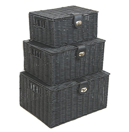 Arpan Nero Set di 3 Resin Woven Basket archiviazione scatola con coperchio & (Basket Archiviazione)