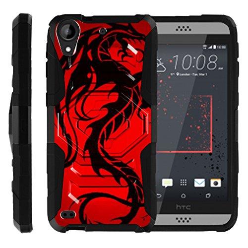 TurtleArmor Schutzhülle für HTC Desire 530 (Okto-Guard) Dual Layer Case Gürtelclip Stabile Ständer-Hülle, Red Dragon (Htc Desire Virgin Mobile)