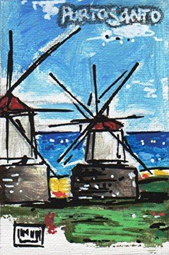 Portela - by Maudelli. Strip Canvas miniMAG - Portela (Portogallo) MM-PO-06. MDF telato dipinto in acrilico, con supporto magnetico. Calamita per frigo.