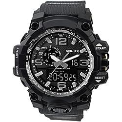 ZEIGER Herren Uhr Punk Uhr Schwarz Sportuhr Analog Digital Armbanduhr Datum Licht Alarm Chronograph W367