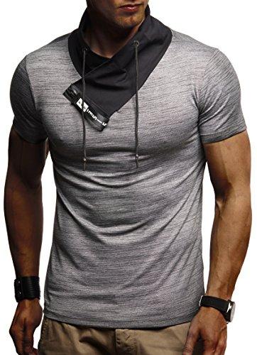 LEIF NELSON Herren Jungen T-Shirt Hoodie Stehkragen Ausschnitt Kurzarm Longsleeve modern Basic Shirt StehkragenVintage