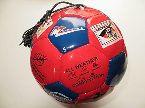 Kinder-indoor-heimtrainer (Mauzi - Ball - am - Gummiband, der Fitnessball und Trainingsball aus Leder Gr. 5 für Draußen (rot/blau)))