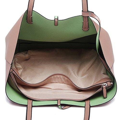 LeahWard® Große Größe Käufer Damen Tragetaschen Damen Mode Essener Schulter Handtaschen mit Frei Klein Tasche Qualität Kunstleder CW0033 6830 CW0033-nackt/Mude