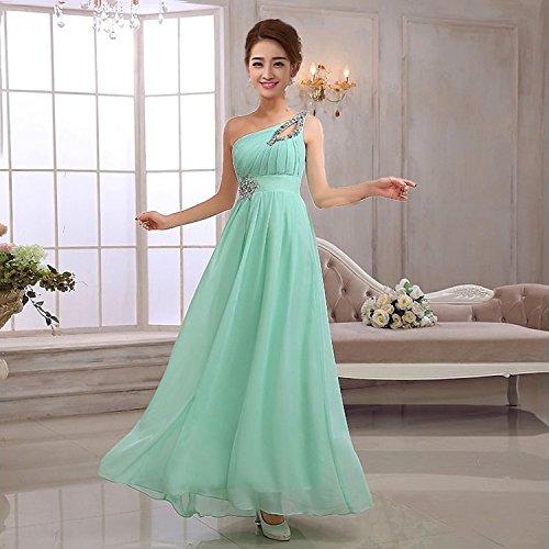 drasawee femmes robe de soirée longue en mousseline de soie Une épaule robe de demoiselle d'honneur/fête vert clair
