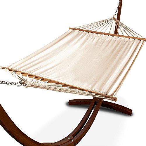 Deuba Hängematte inkl Lärchenholz Gestell | Volldach Stahlketten 405cm 200kg belastbar | Hängemattengestell Mehrpersonen